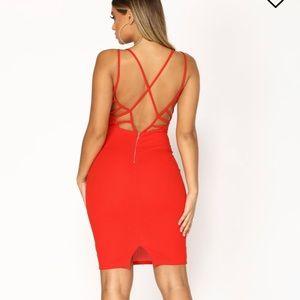 Red v neck strappy back midi dress..NWT!